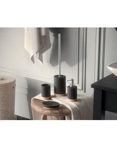 GEDY Serie ILARY in ceramica e sughero bianca 3 pezzi dosatore portasapone portaspazzolini