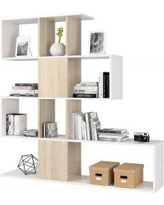 libreria - zigzag - 4 ripiani - bianco/rovere - 145x29x145