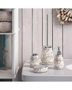 GEDY Serie MARINA in ceramica e madreperla crema 3 pezzi dosatore portasapone portaspazzolini