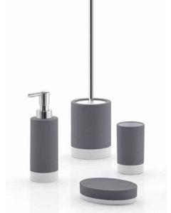 GEDY Serie MIZAR in ceramica grigio 3 pezzi dosatore portasapone portaspazzolini