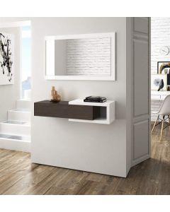 mobile ingresso - un cassetto - mensola - reversibile - specchio con cornice - bianco lucido/legno -