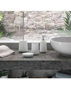 GEDY Serie MARIKA in ceramica bianca 3 pezzi dosatore portasapone portaspazzolini