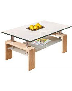 tavolino - doppio piano appoggio - vetro - colore rovere